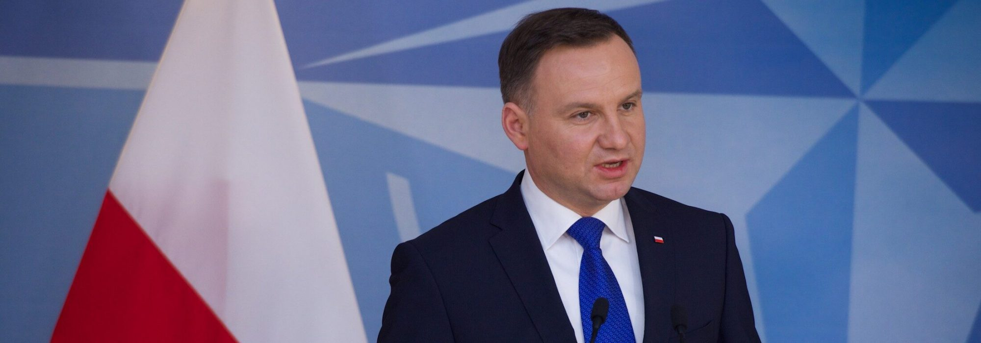 The President of Poland, Andrzej Duda during a joint press point with NATO Secretary General Jens Stoltenberg