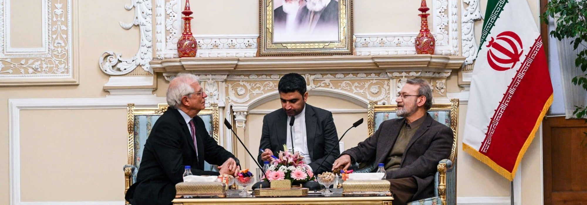 Josep Borrell Fontelles, High Representative of the Union for Foreign Affairs and Security Policy, on the left, meets with Majlis Speaker Ali Larijani, on the right, n Tehran, Iran on February 03, 2020.