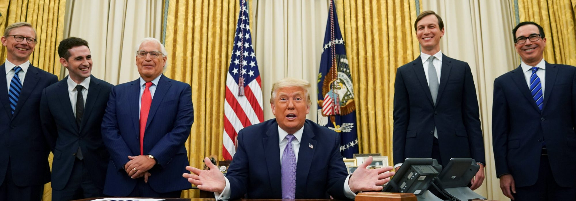 U.S. President Donald Trump announces that Israel and the United Arab Emirates have reached a peace deal that will lead to the full normalization of diplomatic relations between the two Middle Eastern nations in an agreement that Trump helped broker, at White House in Washington, U.S., August 13, 2020.,Image: 552162260, License: Rights-managed, Restrictions: , Model Release: no, Credit line: KEVIN LAMARQUE / Reuters / Forum