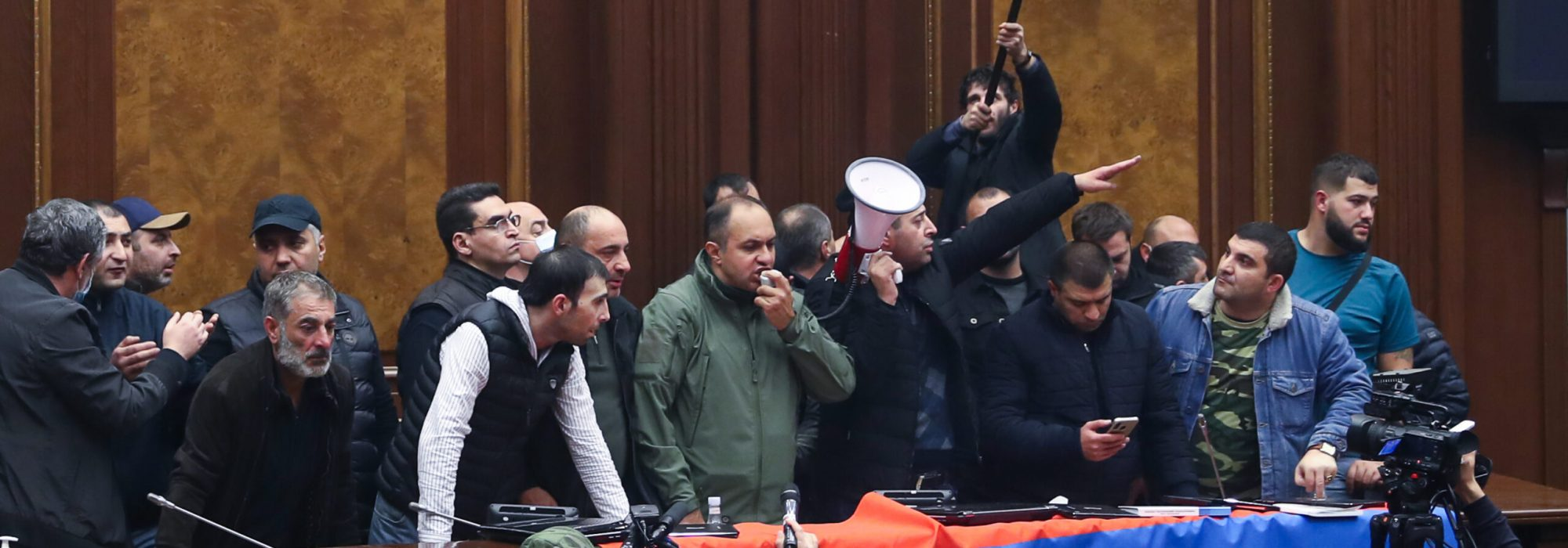 YEREVAN, ARMENIA - NOVEMBER 10, 2020: Demonstrators protesting against the end of war in Nagorno Karabakh break into the building of the National Assembly of Armenia (parliament). On 10 November 2020, Armenia's prime minister Pashinyan, Russia's president Putin and Azerbaijan's president Aliyev signed an agreement to end the war in Nagorno Karabakh. Stanislav Krasilnikov/TASS,Image: 568202734, License: Rights-managed, Restrictions: , Model Release: no, Credit line: Stanislav Krasilnikov / TASS / Forum