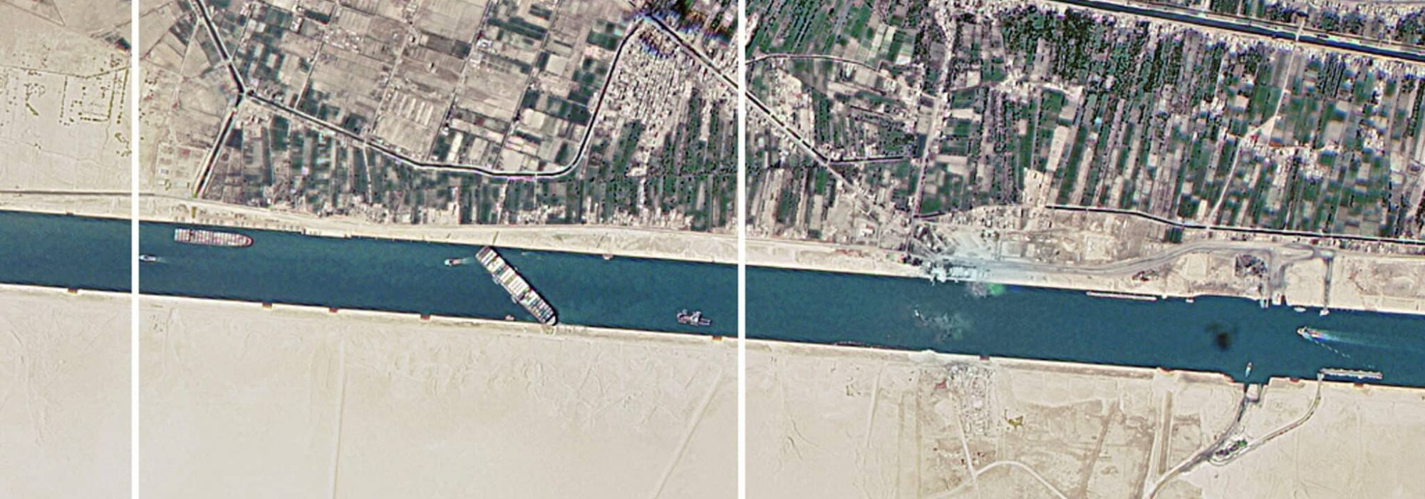 A satellite image shows the Suez Canal blocked by the stranded container ship Ever Given in Egypt March 25, 2021, in this image obtained from Twitter page of Director General of Dmitry Rogozin. Picture taken March 25, 2021.   ATTENTION EDITORS - THIS IMAGE HAS BEEN SUPPLIED BY A THIRD PARTY. MANDATORY CREDIT. THIS IMAGE WAS PROCESSED BY TO ENHANCE QUALITY, AN UNPROCESSED VERSION HAS BEEN PROVIDED SEPARATELY.,Image: 601411008, License: Rights-managed, Restrictions: MANDATORY CREDIT  THIS IMAGE HAS BEEN SUPPLIED BY A THIRD PARTY. IT IS DISTRIBUTED, EXACTLY AS RECEIVED BY REUTERS, AS A SERVICE TO CLIENTS., Model Release: no, Credit line: ROSCOSMOS / Reuters / Forum